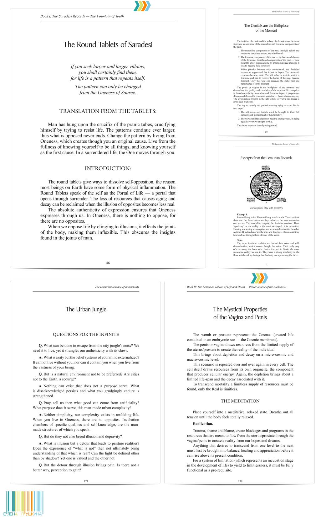 «Lemurian Science Immortality»— дизайн с«нуля» ивёрстка книги (англ.). Автор Альмин Издательство «Spiritual Journeys»— 408 стр. Создание книг Портфолио