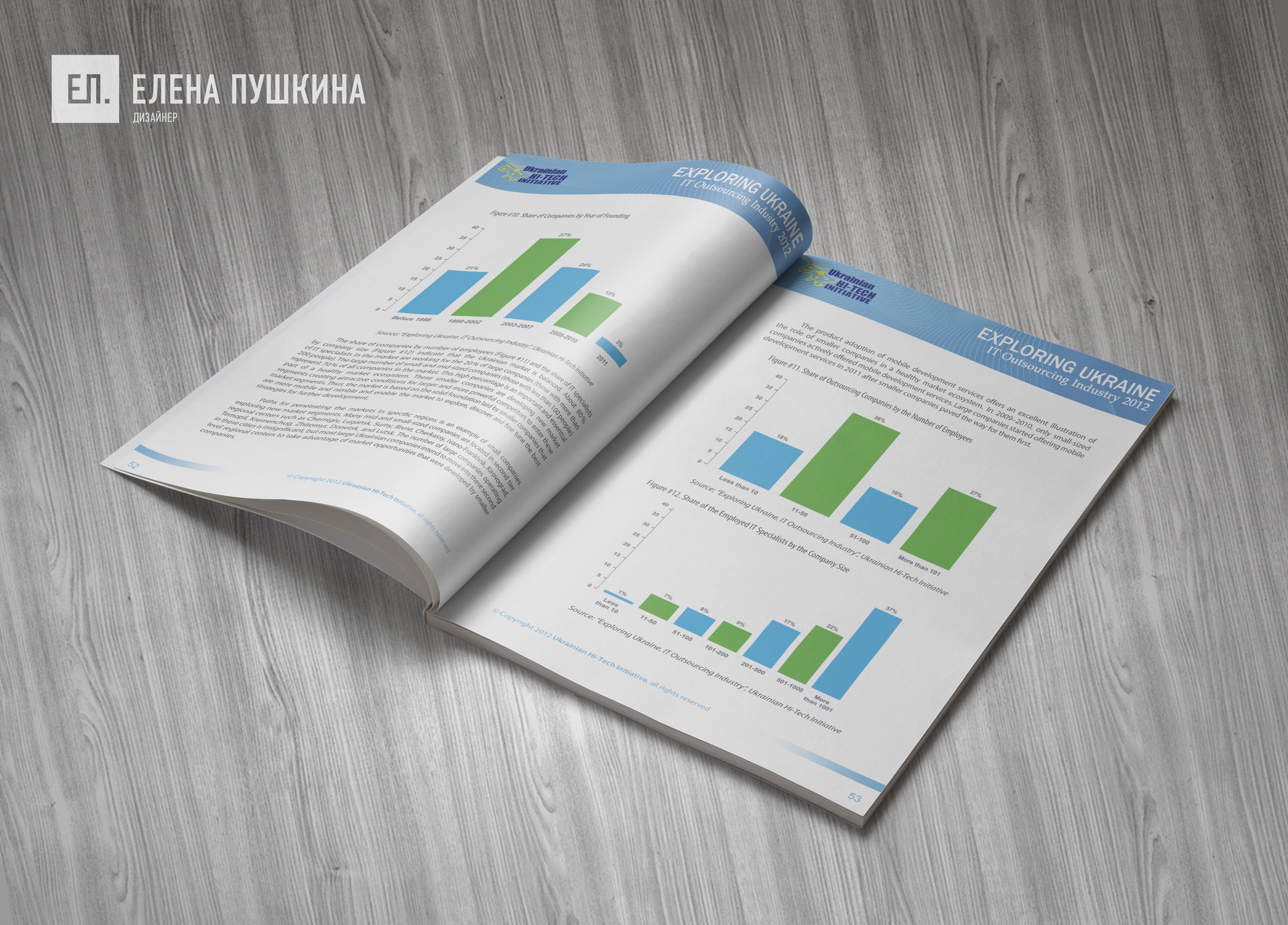 Аналитический отчёт «IT Outsourcing Industry»— дизайн с«нуля» обложки, макета, инфографики ивёрстка брошюры Дизайн брошюр, буклетов Портфолио