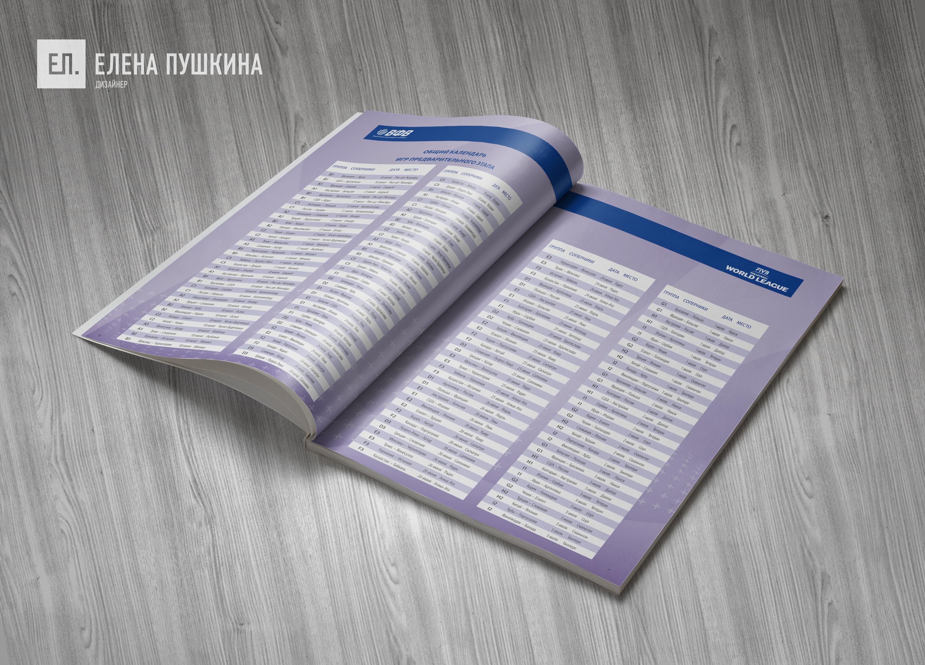 «Волейбол. Мировая лига ФИВБ 2016»— разработка дизайна с«нуля» ивёрстка брошюры Дизайн брошюр, буклетов Портфолио