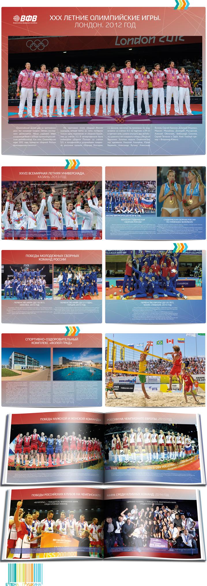 Фотоальбом «Всероссийской Федерации Волейбола»— разработка дизайна с«нуля» ивёрстка брошюры Дизайн брошюр, буклетов Портфолио