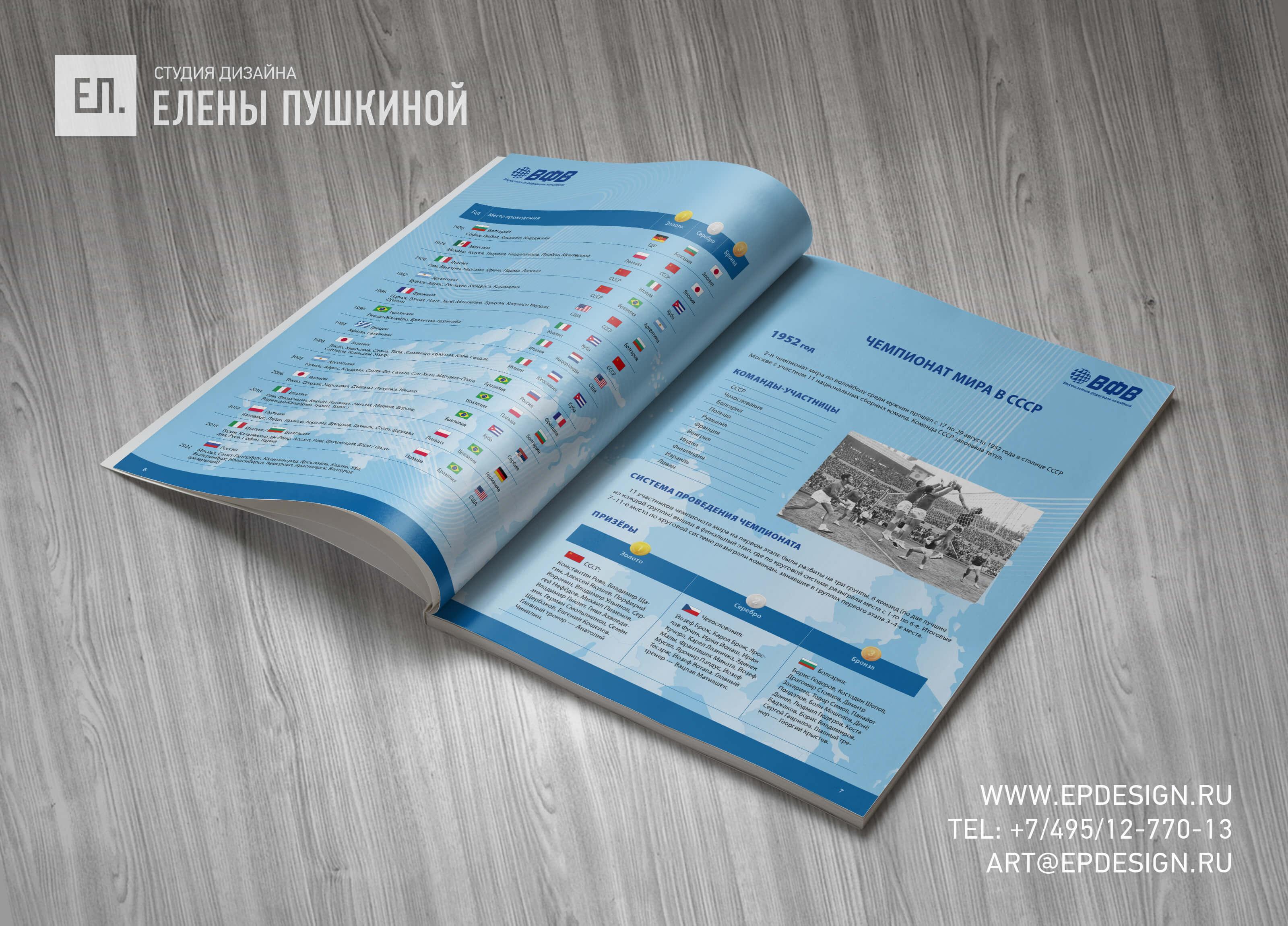 Буклет ВФВ «Волейбол. Чемпионат Мира 2022. Россия»— разработка дизайна с«нуля» ивёрстка брошюры Дизайн брошюр, буклетов Портфолио