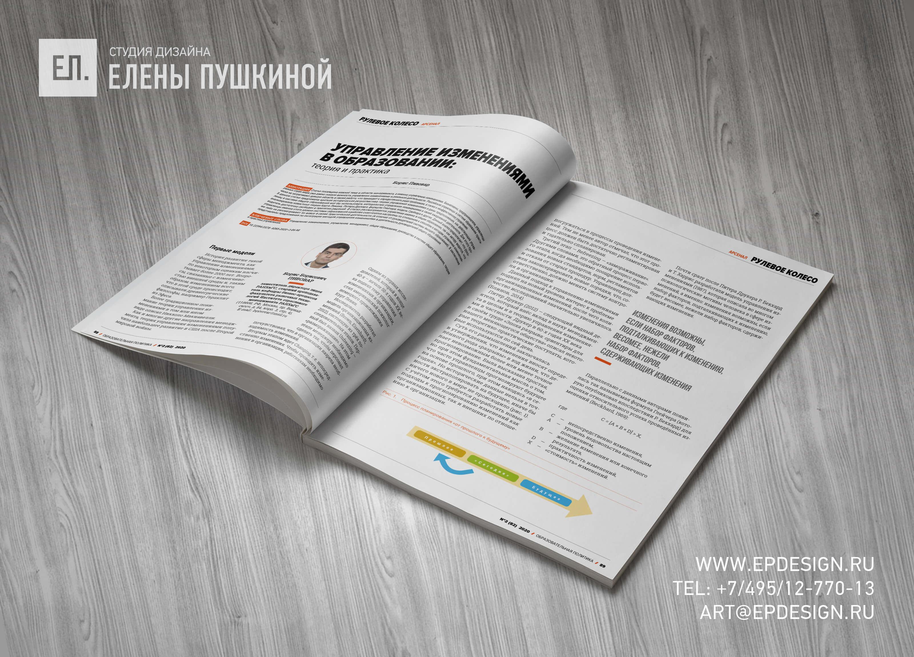 Журнал «Образовательная политика» РАНХиГС №2 (82) июль 2020 — разработка с «нуля» логотипа, обложки, макета и вёрстка журнала Разработка журналов Портфолио